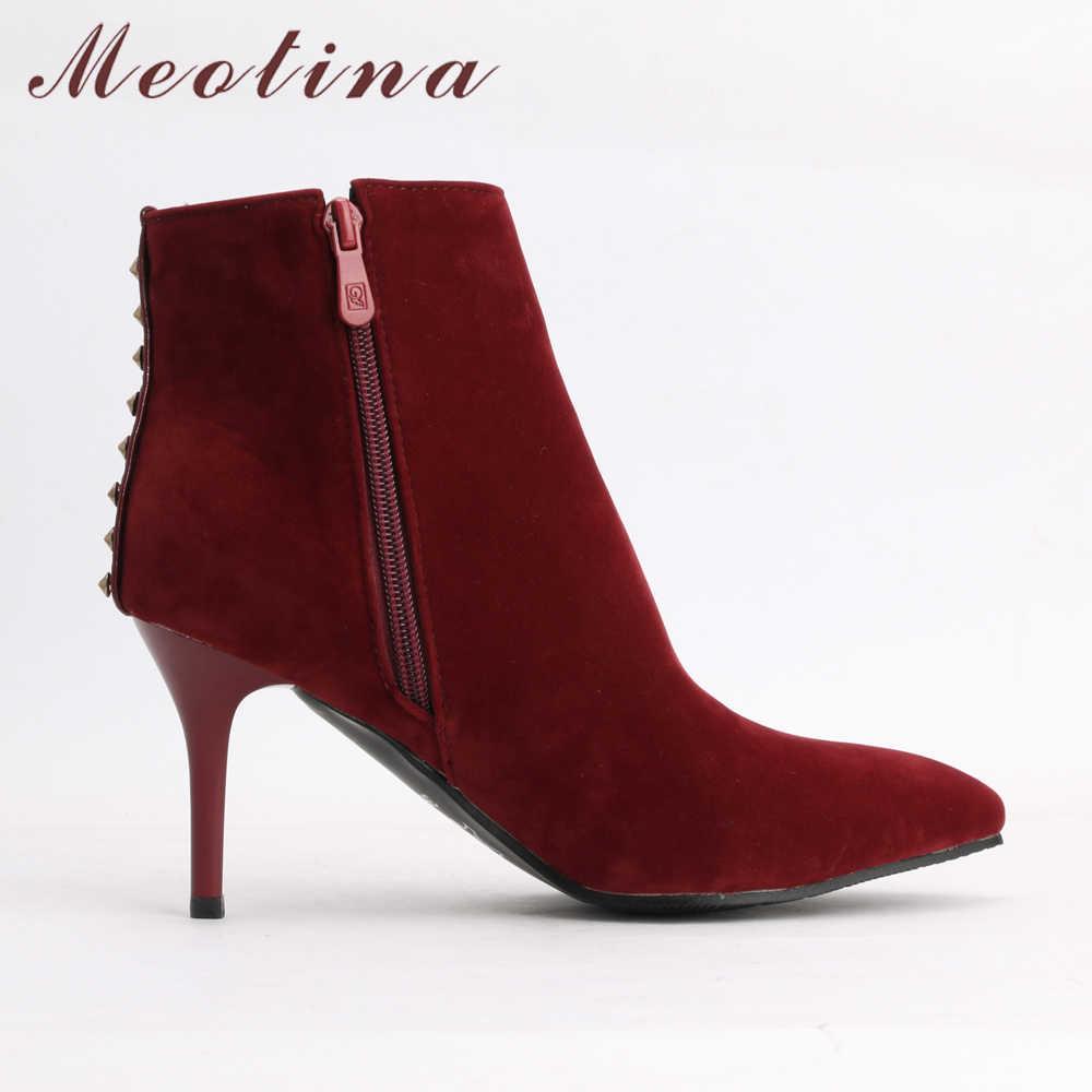 Meotina 2018 yarım çizmeler Kadınlar Yüksek Topuklu Sivri Burun Kış Ayakkabı Perçin Fermuar kısa çizmeler Stiletto Siyah Kırmızı Büyük Boy 33- 43