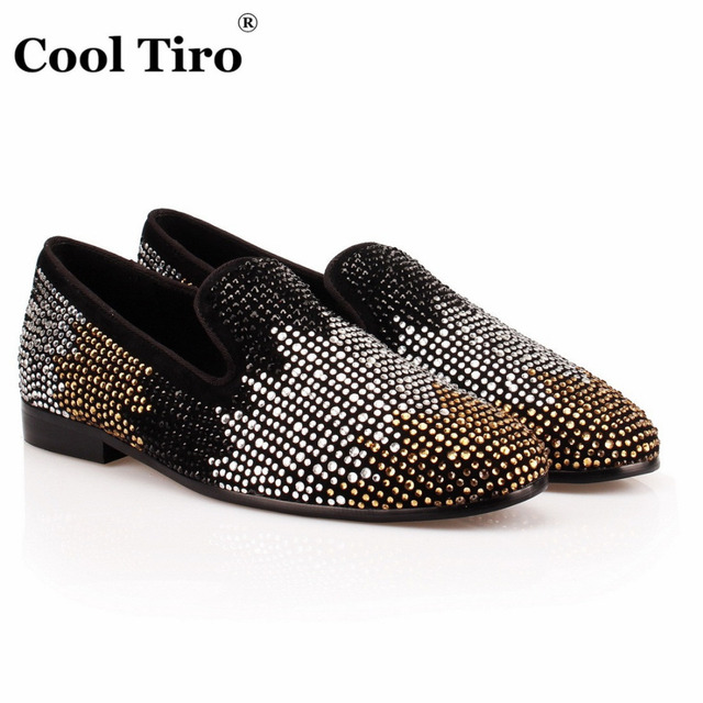 5eef39f5ca3 COOL TIRO Handmade Black white gold Diamonds Men s Loafer Cow Suede Hot  drilling Leather shoes for Banquet and Prom