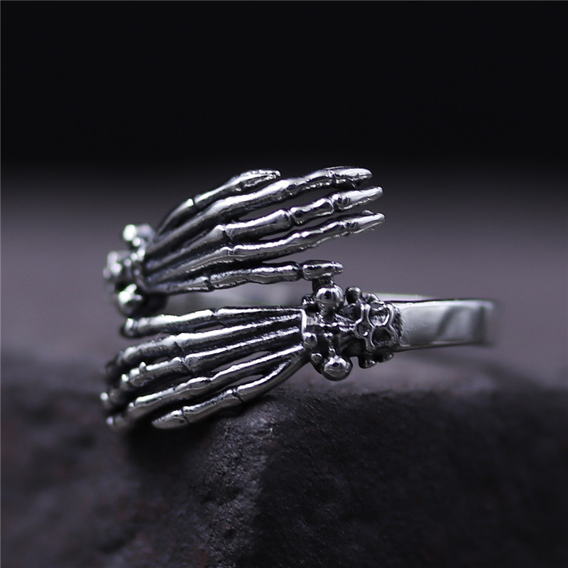 C&R Pure 925 Sterling Silver Rings for Women men bone finger shape opening ring Neo-Gothic Fine Jewelry