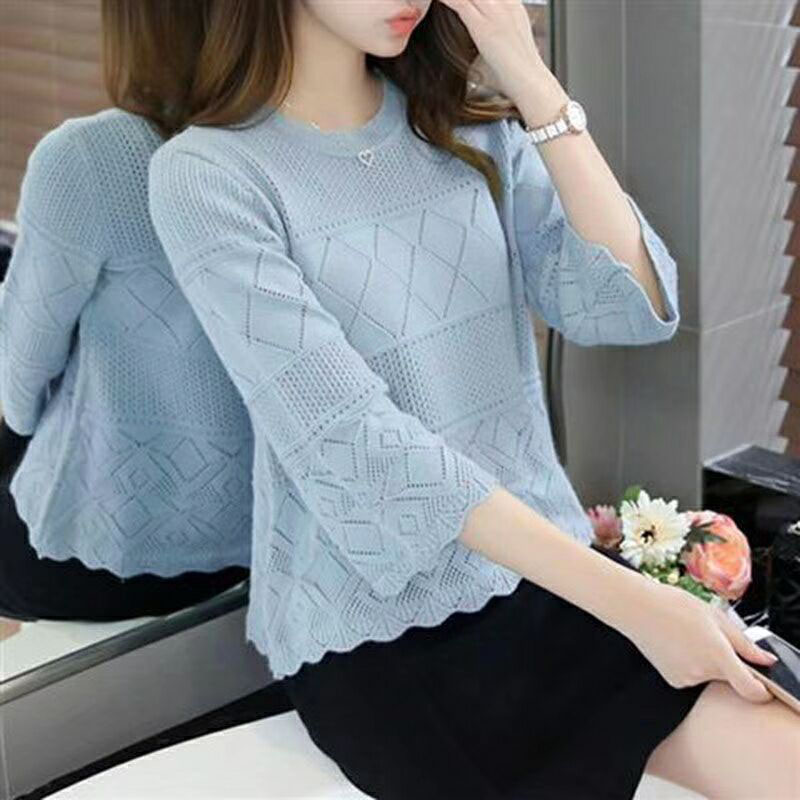 ✅Womens Lace Knitted Backless Sweater Tops Ladies Hollow Long Sleeve Jumper Tops