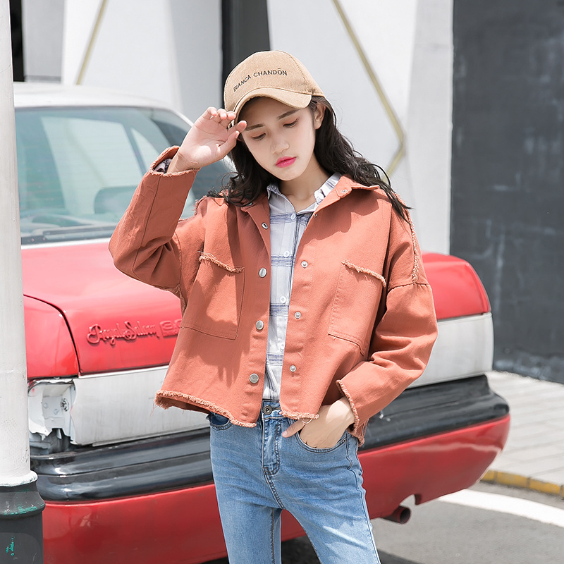 2018 Spring Autumn New Women Long Sleeve Loose Female Hole Jeans Coat Casual Vintage Outwear Yellow Red White   Basic   Denim   Jacket