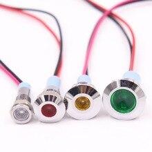 6mm 8mm 10mm 12mm LED Metal Gösterge ışığı su geçirmez Sinyal lambası 6 V 12 V 24 V 220 v tel ile kırmızı sarı mavi yeşil beyaz