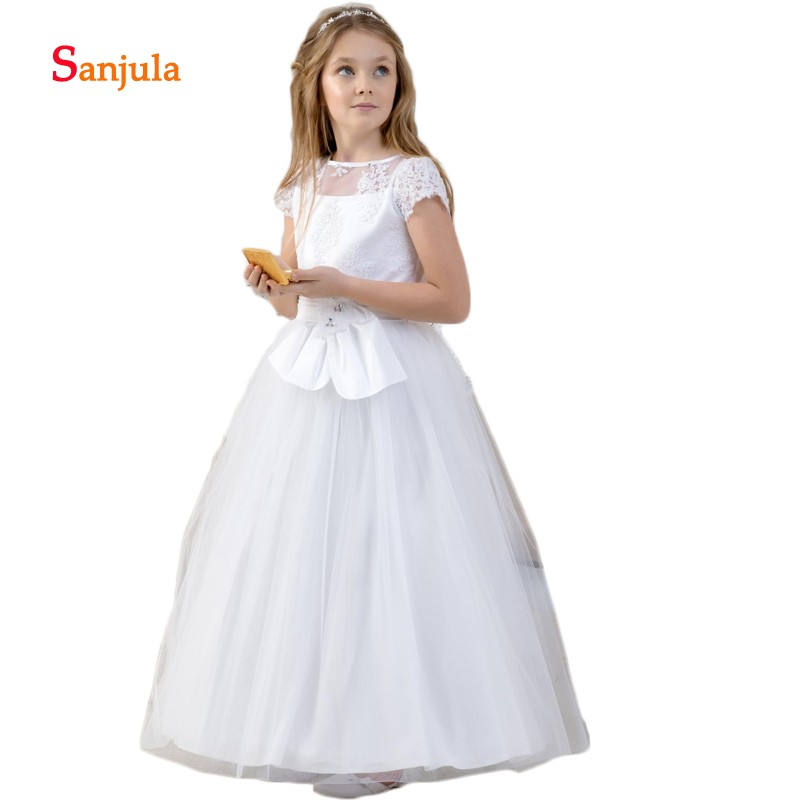 Soft Tulle Puffy Ball Gonw   Flower     Girls     Dresses   Short Appliques Sleeve Charming Communion   Dresses   vestido de daminha D180