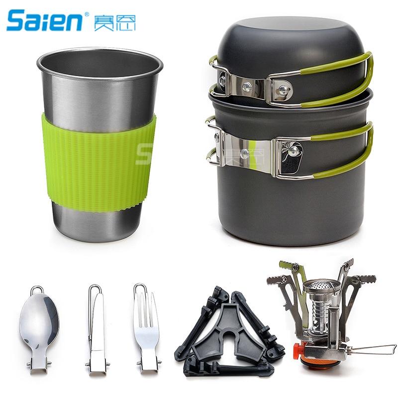 Batterie de cuisine de Camping poêle mousqueton support de bidon trépied et tasse en acier inoxydable, support de réservoir, Kit de cuillère couteau fourchette pour l'extérieur