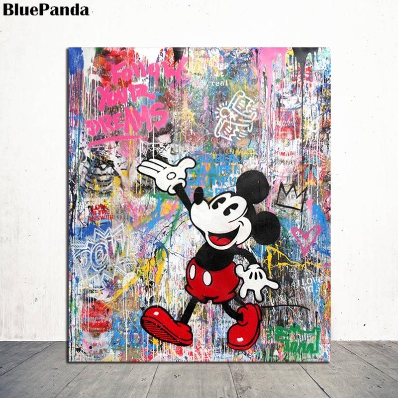 M Brainwash Souris Personnage De Dessin Anime Toile Peinture Impression Huile Affiche Mur Art Photo Pour Chambre D Enfant Decor A La Maison Aliexpress