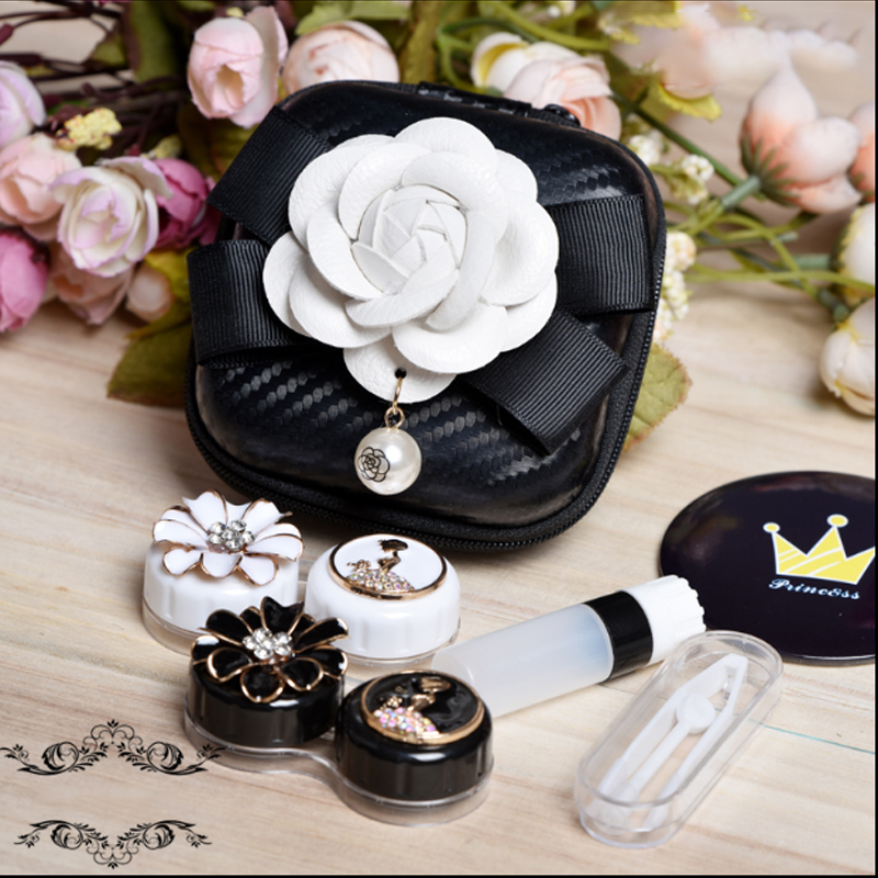 Vintage Retro Contact Lens Case Box With Mirror Travel Kit 2Pairs Container For Contact Lens Lenses Storage Box Glasses Case