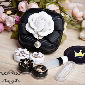Vintage Retro Contact Lens Case Box With Mirror Travel Kit 2Pairs Container For Contact Lens Lenses Storage Box Glasses Case luxury roundness contact lens case color water eye lens box popular travel lens case contact with mirror