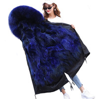 Faux fur Parker coat for womens Winter Fox fur collar hoodies High quality Raccoon fur liner Can be removed Parkas IOQRCJV H555