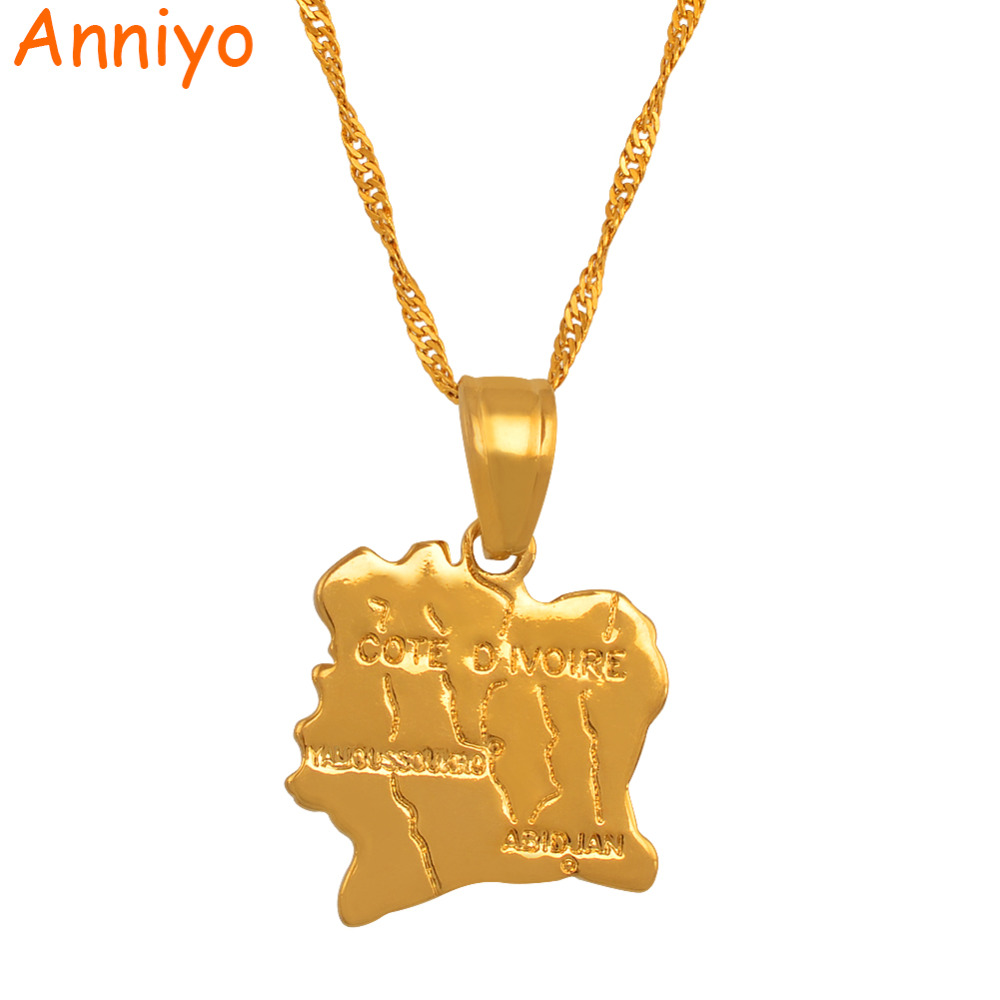 Anniyo Cote divoire Map Necklace Pendant Ivory Coast Maps Necklaces Gold Color Jewelry for Women Men #003010 ivory coast