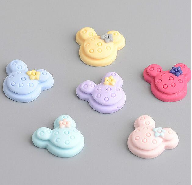 New Style 1.5cm*1.5cm Mix Color Cartoon Mouse Head Flat Back Resin DIY Accessories Fit DIY Phone DIY Jewelry