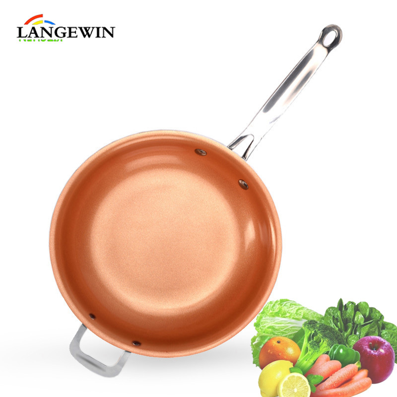 Us 13 65 Non Stick Frying Pan Skillet Copper Ceramic Induction Saucepan Oven Dishwasher Safe Red Nonstick Kitchen Cookware In Pans