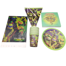 51pcs/lot Decoration Tablecloth Birthday Party Flags Ninja Turtles Design Napkins Banner Baby Shower Kids Favors Cups Plates