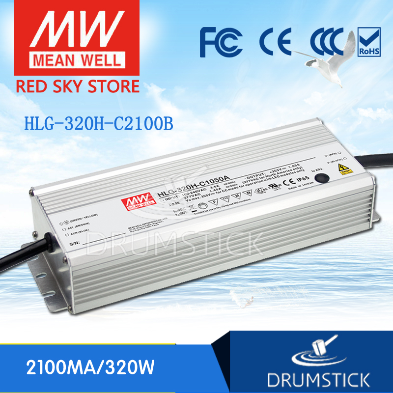Selling Hot MEAN WELL original HLG-320H-C2100B 76 ~ 152V 2100mA meanwell HLG-320H-C 319.2W LED Driver Power Supply B Type genuine mean well hlg 320h 36b 36v 8 9a hlg 320h 36v 320 4w single output led driver power supply b type
