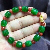 Мелкий опт зеленый Натуральный камень Браслеты уступили узор 10 мм шарик и красный с Pixiu браслет для Для мужчин Для женщин браслет ювелирных