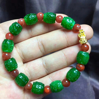 Wholesale Fine Green Natural Stone Bracelets Caved Pattern 10mm Bead and Red With Pixiu Bracelet for Men Women Bracelet Jewelry