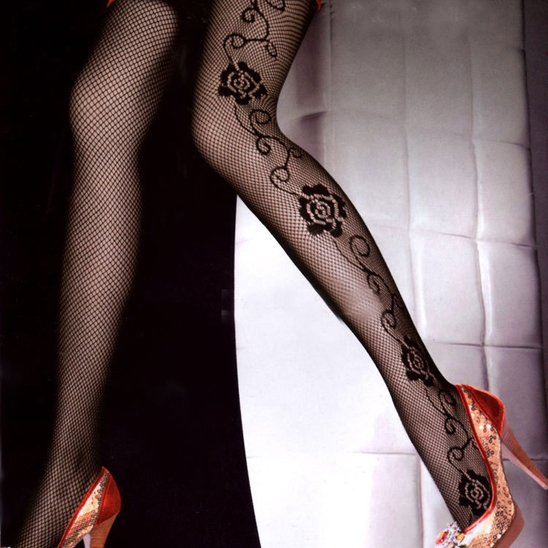 1 pc Trendy Female Sexy Rose Side Pattern Hollow Fishnet Pantyhose Tights Long Sexy Black Tights For Women Girl image