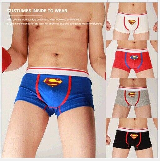 Superman ropa interior de los hombres calzoncillos de algodón cintura Azul rojo negro gris blanco bragas