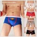 Superman ropa interior de los hombres calzoncillos de algodón cintura Azul rojo negro gris blanco bragas de Dibujos Animados carta personalizada estilo u