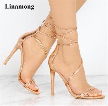 2018 hot sell Summer New Fashion Women  Narrow Band Sandals Sexy cross-tied thin  High Heel good match Sandals