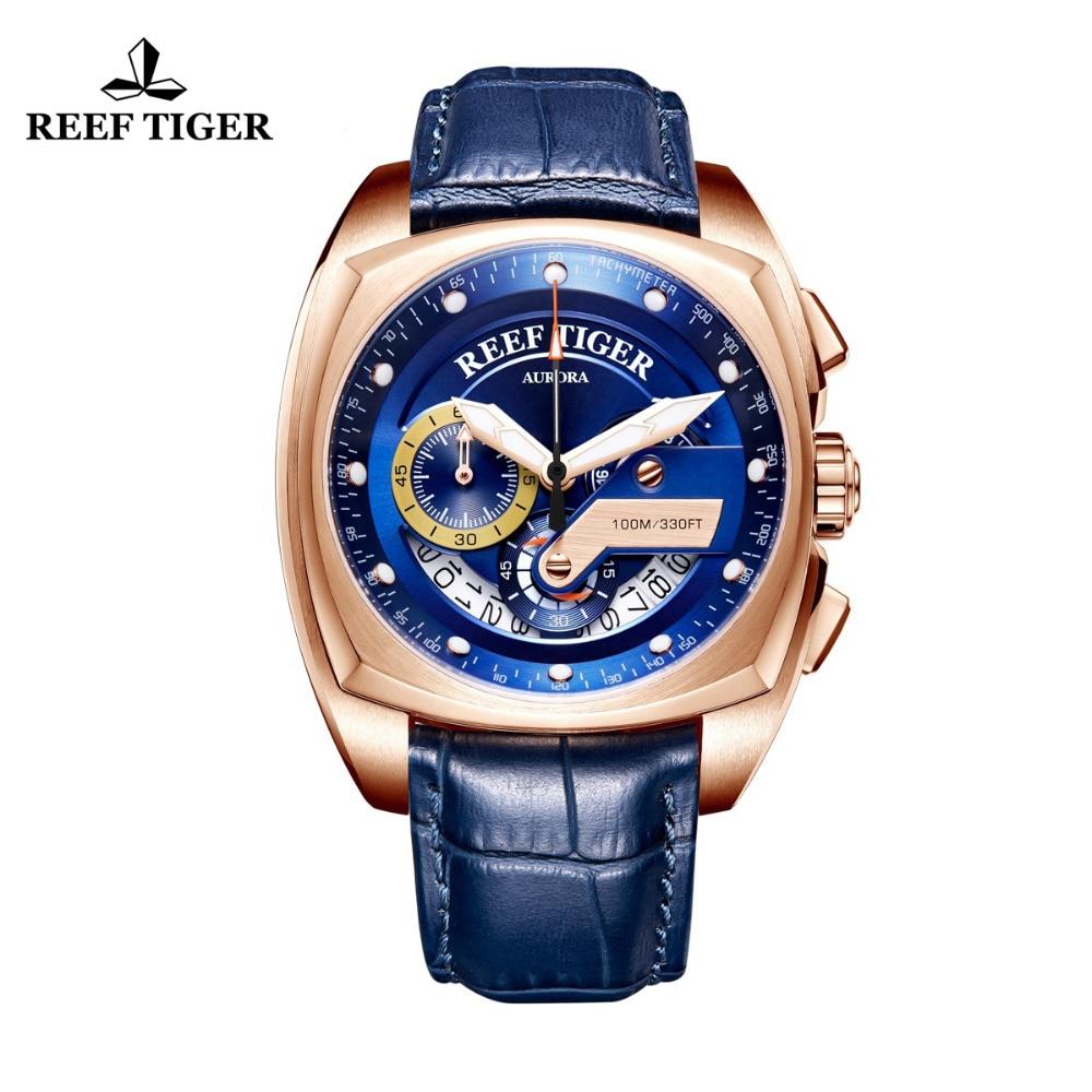 2019 récif tigre/RT Top marque Sport montre hommes de luxe Rose or bleu montres bracelet en cuir étanche Relogio Masculino RGA3363