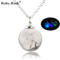 Dandelion glass ball luminous sand sand luminous necklace Necklace fluorescent Christmas Halloween Halloween gifts wholesale