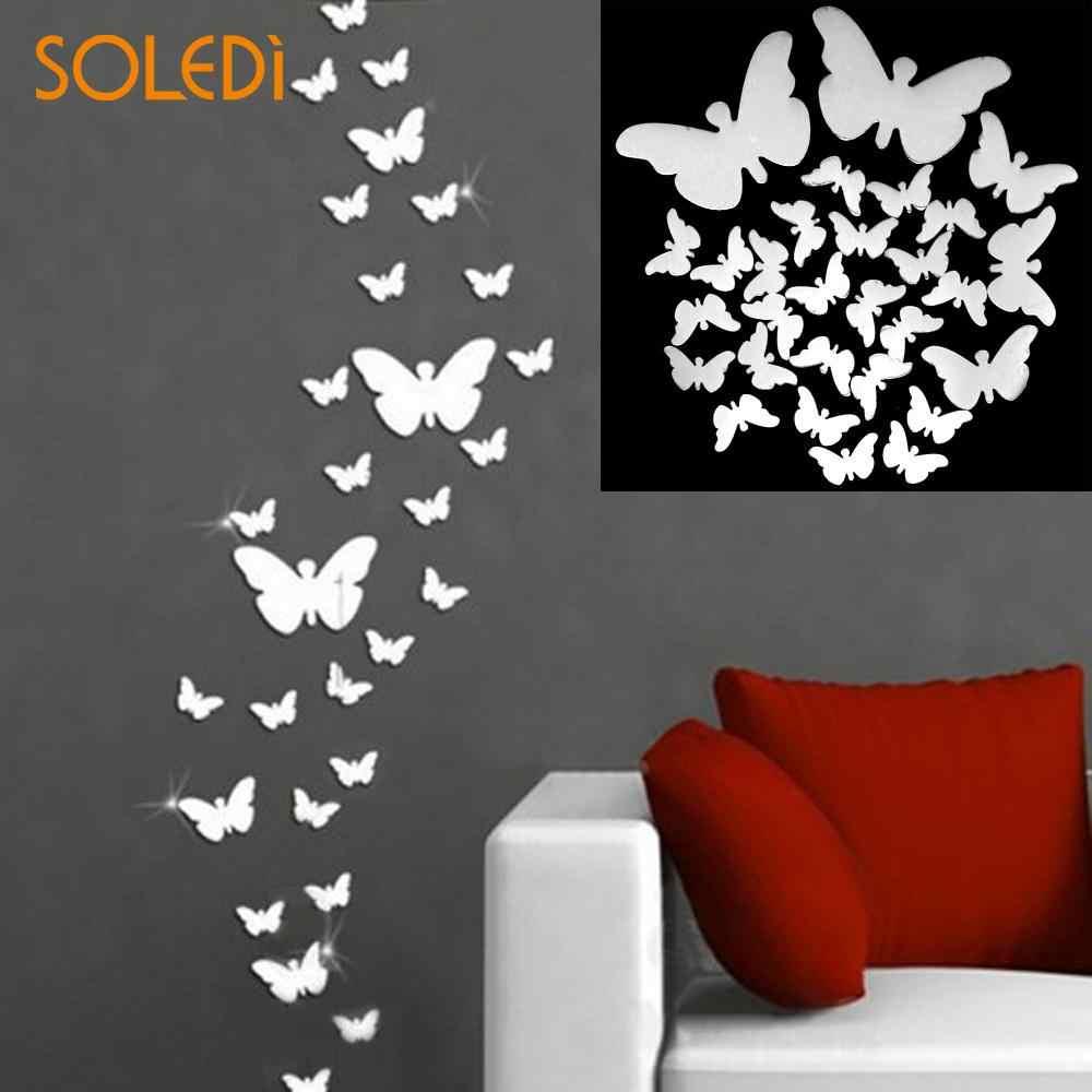 12pcs 3D Fluorescence Butterfly Wall Stickers Cartoon Bedroom Windows Decals Art
