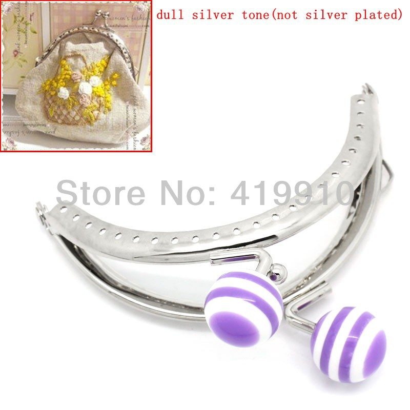 Arts,crafts & Sewing Precise Free Shipping-3pc Metal Frame Kiss Clasp For Purse Bag Lock Handle Diy Silver Tone Purple & White Resin Ball 8.5cm X 7cm,j2574 To Enjoy High Reputation At Home And Abroad Buckles & Hooks