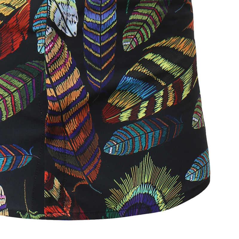 Цветные Листья печати Цветочная гавайская рубашка 2018 бренд Slim Fit короткий рукав пляжные рубашки мужские повседневные летние каникулы Chemise Homme