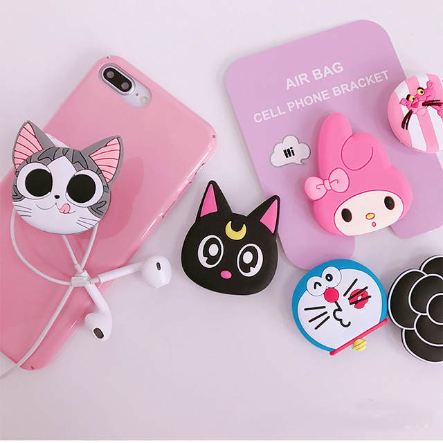 New mobile phone bracket Cute hello kitty airbag Phone POP Expanding Stand Finger Holder Sakura luna cat phone ring 3