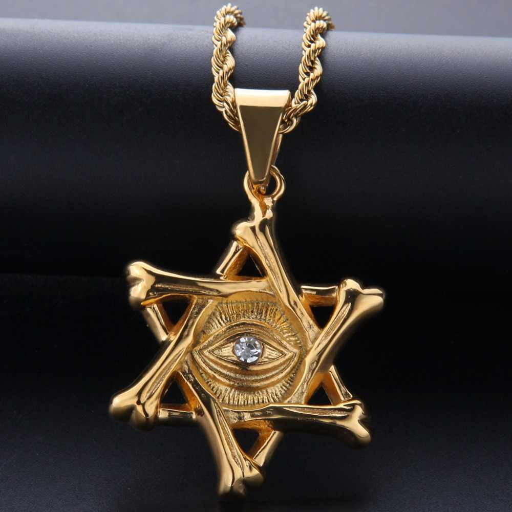 2018 Men Hip Hop Star of David with eye Pendants Necklaces Stainless Steel fashion Vintage Charm necklace Hiphop Jewelry gifts