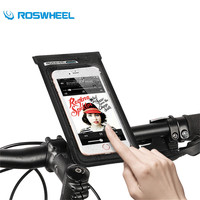 ROSWHEEL Bicycle Waterproof Phone Bags 6 Inch Front Frame Tube Phone Case 360 Degree Rotation PVC