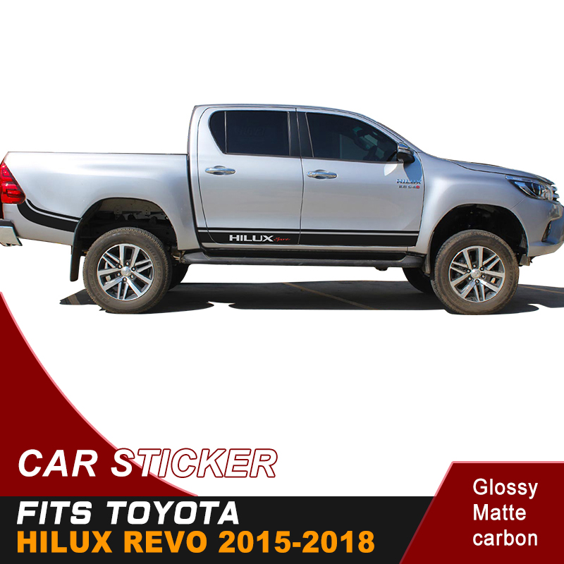 2PC free shipping hilux racing side stripe pickup boxbed graphic Vinyl 4x4 car sticker for TOYOTA HILUX revo and vigo 2012 2018-in Car Stickers from Automobiles & Motorcycles    1