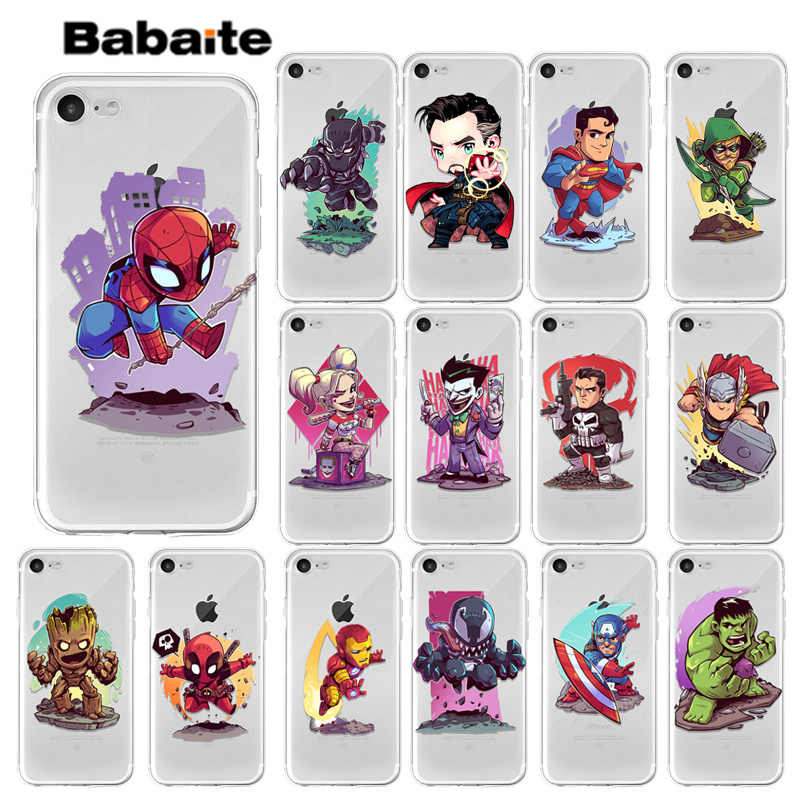 Babaite Cool Marvel Avengers étui pour iphone XS Max XR X 7 6 s 8 Plus 5 S SE fer homme Spiderman Deadpool Groot etuis Coque de couverture