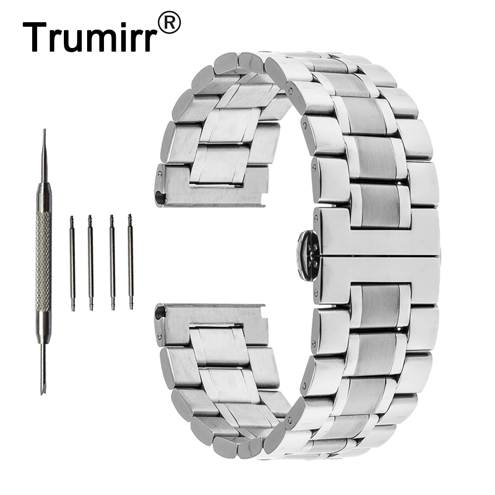 22mm 24mm Stainless Steel Watch Band Butterfly Buckle Strap + Tool for Hamilton Watchband Replacement Wrist Belt Bracelet Silver цена
