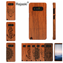 Natural Real Wood Phone Case For Samsumg Galaxy Note 8 Bamboo Wooden Anchor Tribal Wolf Cross Phone Cover For Galaxy Note8 Case