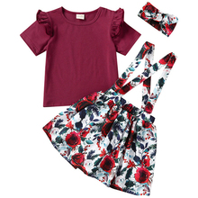 Newborn Infant Baby Girls Clothing Sets Cotton Summer Solid Color T Shirts Tops+Flower Print Suspender Skirts Clothes