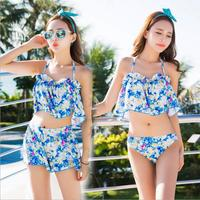 Young Women Floral Bikini Set Halter Underwire With Chest Pad Fresh Swimsuit 3 Pcs Ruffles Push