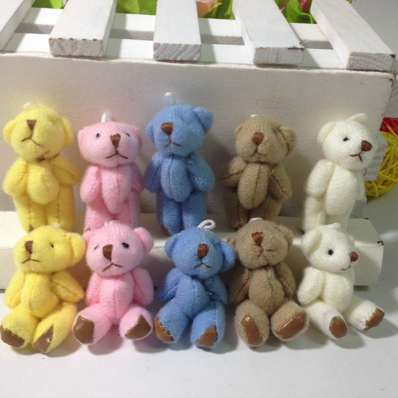 Bulk 4 5cm 1 8 Plush Joint Small Teddy Bear Pendants miniature bear Key chain Bouqeut