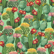 Laeacco Oil Painting Dessert Cactus Seamless Pattern Wallpaper Party Photo Backgrounds Photography Backdrops For Studio