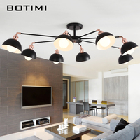 BOTIMI Modern LED Chandelier For Living Room Lustres Ceiling Mounted Chandeliers E27 Lampshade Dining Lighting Kitchen
