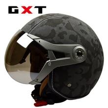 100{e3d350071c40193912450e1a13ff03f7642a6c64c69061e3737cf155110b056f} original GXT cuero mujeres de hombre casco de moto capacete / vintage casco moto medio casco de envío gratis