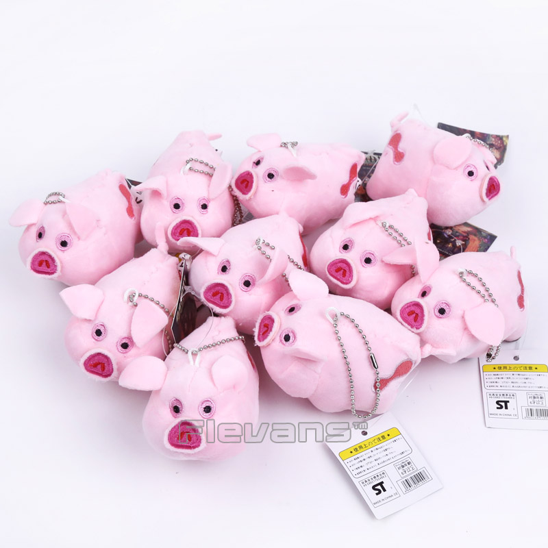 Cartoon TV Cute Gravity Falls Pink Pig Waddles Plush Pendant Toys Soft Stuffed Animals Dolls with Keychain 10pcs/lot
