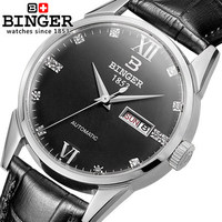 2017 Hot Sale Luxury Brand Binger Watches Men Self Wind Wristwatch Mens Dress leather Watches 12 color Clock Male Drop Shipping