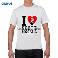GILDAN homens engraçados camiseta Eu Amo Mccall 11 T-Shirt 2017 Homens Lobo Adolescente T-shirt Letra Impressa T