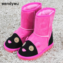 WENDYWU 2017 cartoon photos of kid boots plus velvet boots snow boots ladies and boys put on, heat, non-slip, light-weight dimension