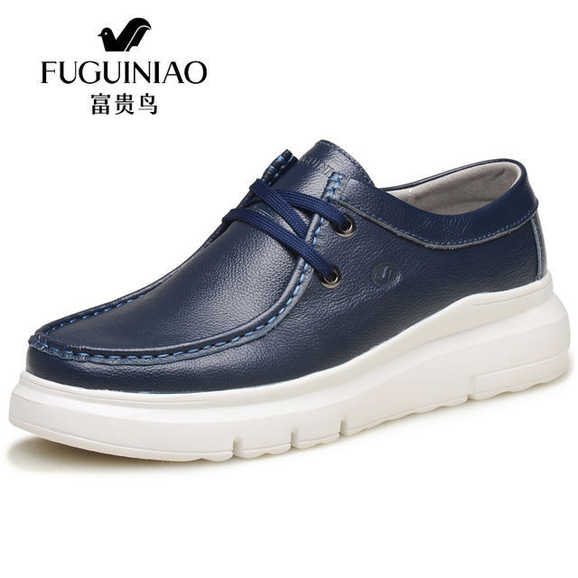 49cc64b601ff FUGUINIAO New Men s Genuine Leather Platform Shoes