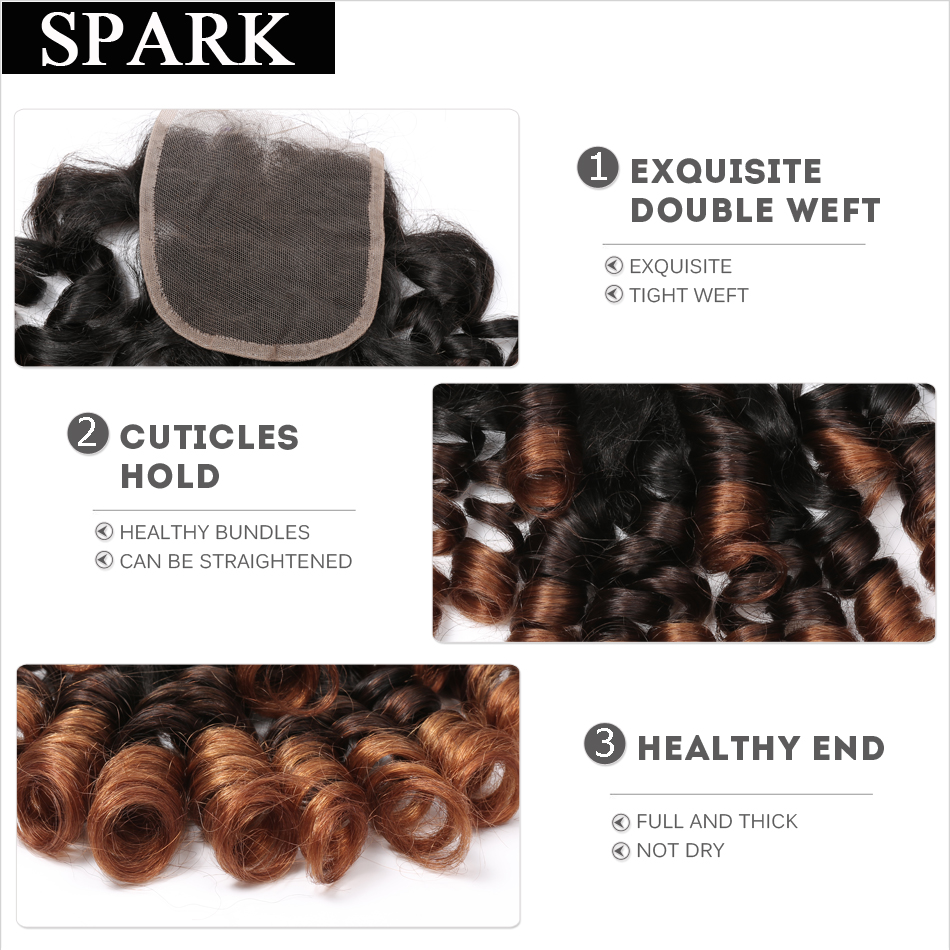 Spark 4x4 Ombre Brazil Remy Hair Bouncy Curly Closure 10-22inch 1b / - Rambut manusia (untuk hitam) - Foto 6