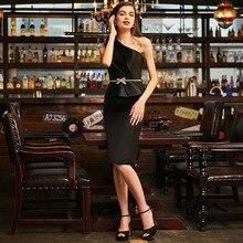 Tanpell one shoulder short cocktail dress black beaded knee length sheath women party formal plus custom dresses
