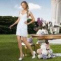 Dos Piezas de La Manera Desmontable Falda de Una Línea de Vestido de Novia 2017 Vestidos de Novia de Encaje Blanco con cuello en v Sexy Vestido de noivaCGW284