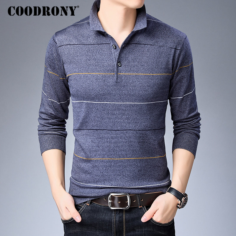 COODRONY Pullover Men Sweaters Knitwear Winter Homme Woolen Autumn Striped Fashion Cotton